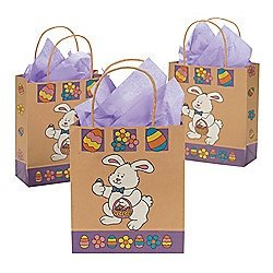 Brown Paper Easter Bunny Gift Bags (Pack of 12)