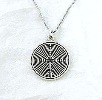 Sterling Silver Labyrinth Medallion Necklace, 18 Inch
