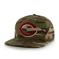 Cincinnati Reds Camouflage Air Drop Leather Strap Adjustable Strapback Hat Cap by