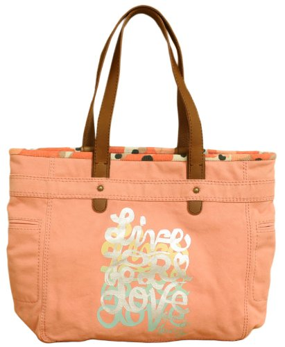 Juicy Couture Live for Love Canvas Velour Tote Cantalope