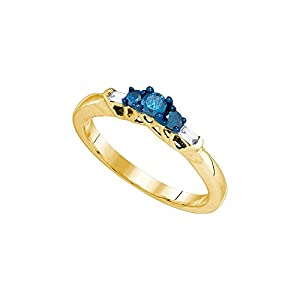 10kt Yellow Gold Womens Round Blue Colored Diamond 3-stone Bridal Wedding Engagement Ring 1/4 Cttw