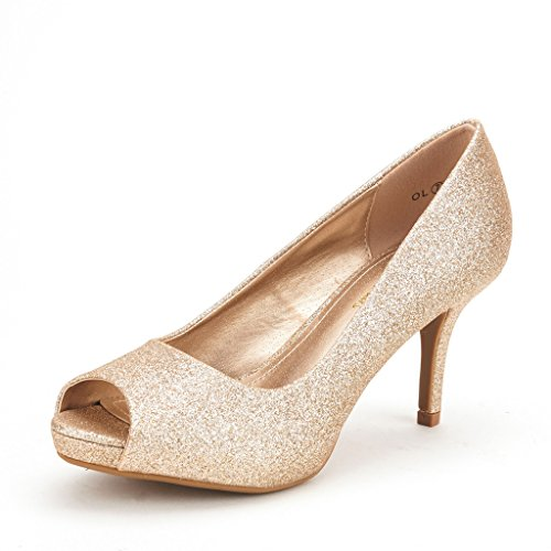 DREAM PAIRS OL Women's Elegant Open Toe Classic Low Heel Wedding Party Platform Pumps Shoes GOLD GLITTER SIZE 8.5