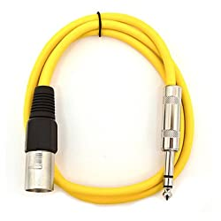 "SEISMIC AUDIO - SATRXL-M2 - Yellow 2' XLR Male to 1/4"" TRS Patch Cable"