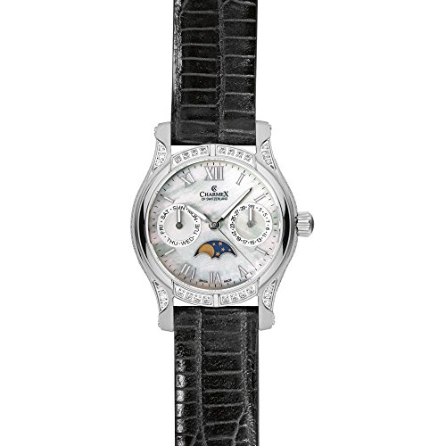 Charmex Granada 6216 31mm Stainless Steel Case Black Calfskin Synthetic Sapphire Women's Watch