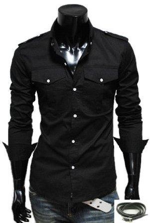(アーバンセレクト) Urban Select シャツ 長袖 メンズ ミリタリー 七分丈 カジュアル 半袖 黒 グレー N-14(エコバッグセット)
