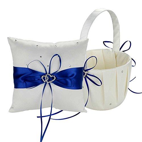 Vlovelife Wedding Flower Girl Basket + Ring Bearer Pillow , Royal Blue Satin Ribbon Bowknot, Heart Design Diamonte Buckle Decor , Rustic,Elegant (8'' X 8'' Pillow + Basket, Royal Blue) (Flower Girl Basket Blue compare prices)