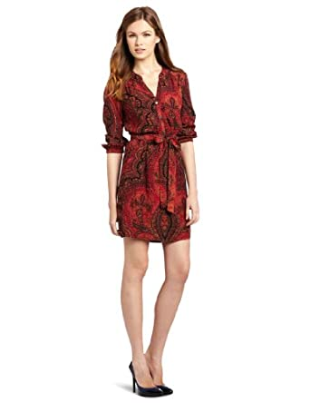 Lucky Brand Women's Oriental Rug Shirt Dress, Red Multi, X-Small