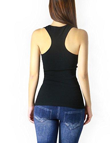 Women's Basic Seamless Comfortable Fashion Tank Top (BLACK ...