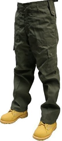 Adults Army Olive Cargo Trousers Sizes W30