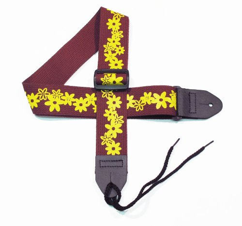 Girls Guitar Strap 2 Cotton Strap with Yellow Daisy Flowers on a Dark Cherry Maroon Strap by Legacystraps