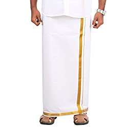 100% Jari Cotton 2meter Dhoti With 2 CM Border In Horizontal And Vertical On Both Side