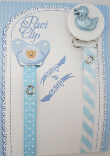 Blue Duck Ribbon Pacifier Clip
