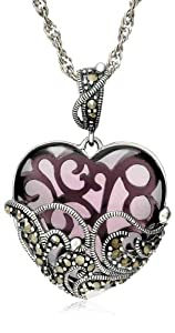 Sterling Silver Marcasite and Amethyst Colored Glass Heart Pendant Necklace, 18