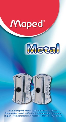 Maped Classic 1-Hole Metal Pencil Sharpeners,  Grey, 2-Pack (006602)
