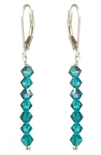 Sterling Silver Swarovski Elements Blue Zircon Colored and Blue Zircon Aurora Borealis 4mm Multi-Bicone Earrings