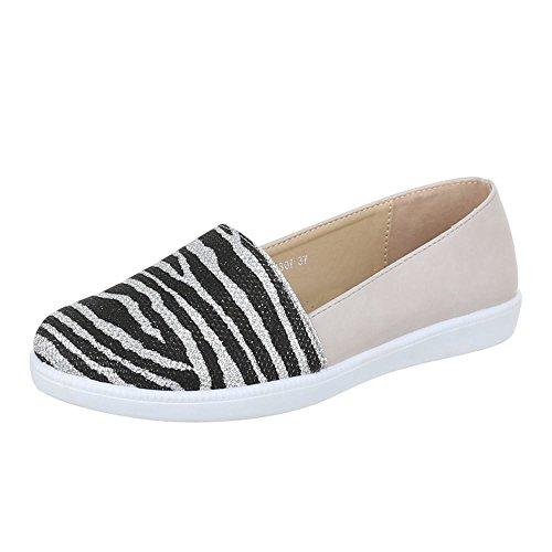 Damen Schuhe, K807, HALBSCHUHE, BALLERINAS, Synthetik