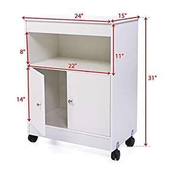 JAXPETY Microwave Cart Storage White Wood Cabinet Shelf Space Saver 4 Casters Kitchen New