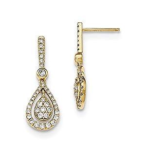 Christmas Sale -14k Diamond Fancy Teardrop Dangle Post Earrings - Excellent Gift