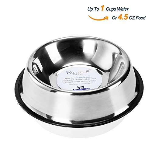 Stainless Steel Dog Bowls With Rubber Base Non-Skid Classical Food Bowl,Water Bowl For All Pets Rust Resistant (Various Sizes Available) By Petutu-S(Up to 4.5oz Food) (Stainless Steel Shallow Bowl compare prices)