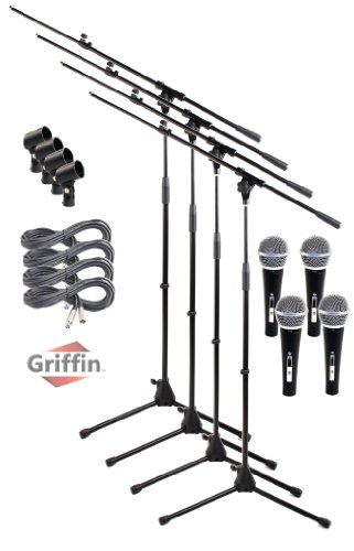 Microphone Boom Stand With Cardioid Dynamic Mic Xlr Cables Telescoping Tripod 4 Pack Griffin