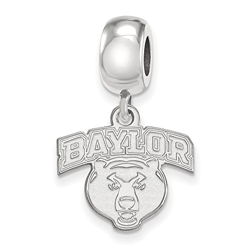 Sterling Silver LogoArt Official Licensed Collegiate Baylor University (BU) Small Dangle Bead