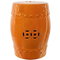 "Big Sale 18"" Ceramic Garden Stool Orange"