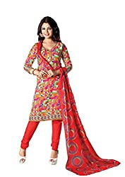RUDRA FASHION Women RED COTTON SALWAR SUIT DRESS MATERIAL WITH COTTON DUPATTA.DS 2105