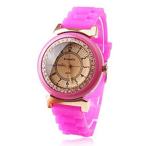 Pink Silicone Band Two-tone Quartz Czechic Diamond Women's Watch