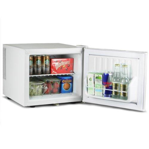 ChillQuiet Mini Fridge 17ltr White   bar@drinkstuff Quiet Running Mini Fridge, Can Cooler, Bottle Cooler, Compact Table Counter Top with Lock