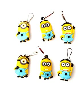 6 pcs Despicable Me Cartoon Zipper Pull Charms for Jacket Backpack Bag Pendant from Hermes