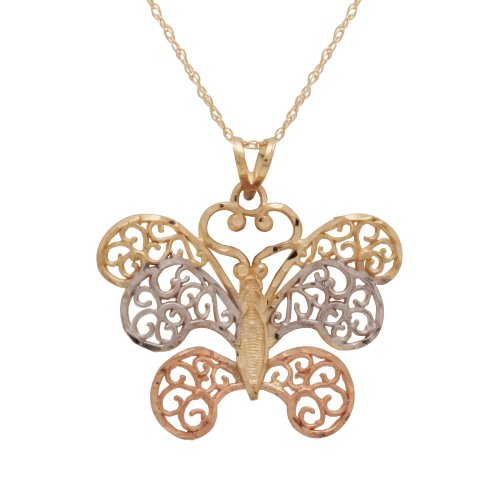 10k Two-Tone Polished Diamond-Cut Butterfly Pendant Necklace, 18