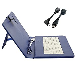 Hooshion® 9 Inch USB Keyboard Case Stand for 9 Inch Android Tablet Pc+Mini 5pin OTG Cable+Micro OTG Adapter (Blue)
