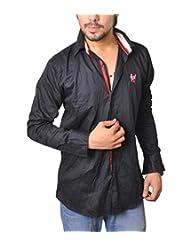 Nation Polo Club Men's 100% Cotton Lycra Coduroy Pattern Slim Fit Casual Black Color Shirt