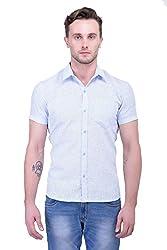 Trendster Sky Blue Stipes Half Sleeve Casual Men's Shirt