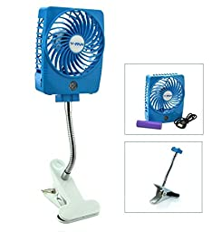 Happy-top® Mini Handheld Square Electrical Portable USB Rechargeable Fan 3 Speeds Desktop Clip-on Fan Summer Cooler Electric Personal Fan Power Bank Fan LED Lights with Clip Base (Blue)