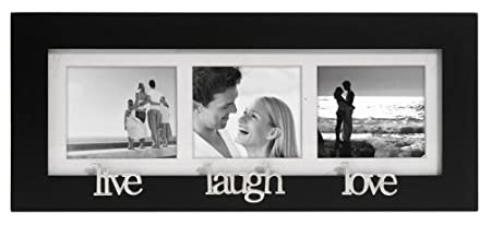 Malden Live-Laugh-Love 3-Picture Wood Frame, 2-by-3-Inch, Black