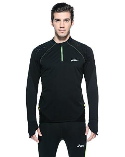 Asics T-Shirt Fuji Ls 1/2 Zip [Nero/Lime]
