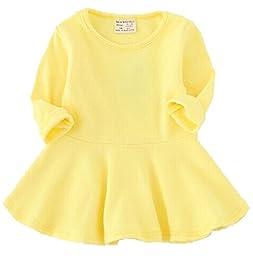 EGELEXY Baby Girls\' Long Sleeve Cotton Ruffle Top Dress 12-18Months Yellow