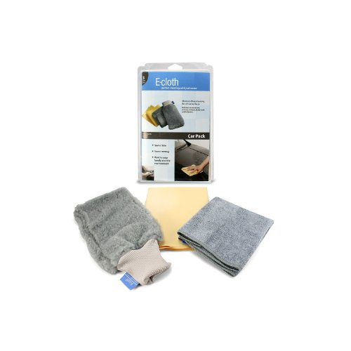 E-cloth Car Cleaning Pack - Large Mitt, Microfibre Chamois, Microfibre Auto Cloth. [COLOUR MAY VARY]