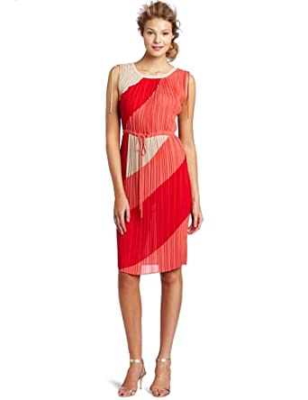 BCBGMAXAZRIA Women's Hailey V Neck Pleated Ties Dress, Red Berry Combo, X-Small