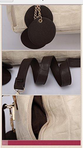 Maison De Decoration©Sac à main d'épaule d'embrayage de cuir de vache à modèle de grain de crocodile de la messagère des femmes (beige)