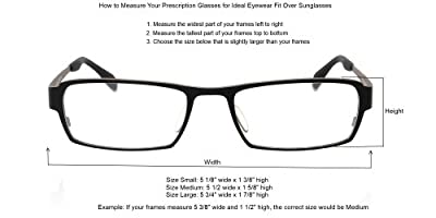 Sun Shield Fit Over Sunglasses with Blue Blocker HD Driving Lens & Spring Hinges - Fit Over Prescription Glasses
