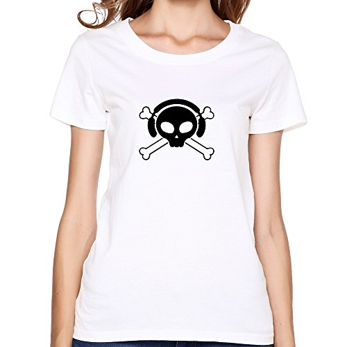 Womens Geek O Neck Pirate Skull Dj T-shirt