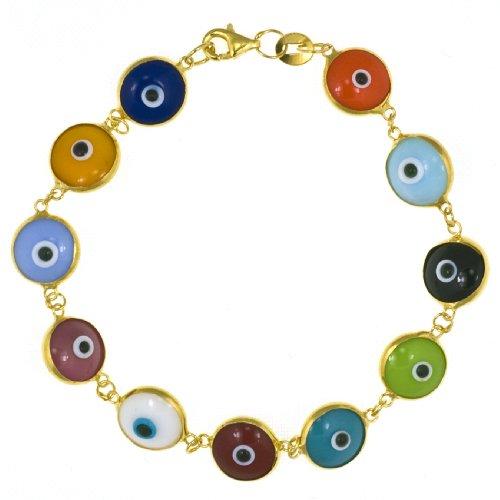 24k Gold Plated Sterling Silver Multi-Colored Guardian Eye Bracelet