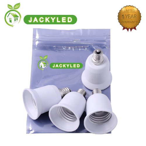Jacky Led® 5-Pack E12 To E26 / E27 Adapter - Converts Chandelier Socket (E12) To Medium Socket (E26/E27)