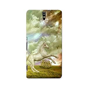 ArtzFolio White Horse In The Field In Stormy Day : Sony Xperia C5 Matte Polycarbonate ORIGINAL BRANDED Mobile Cell Phone Protective BACK CASE COVER Protector : BEST DESIGNER Hard Shockproof Scratch-Proof Accessories