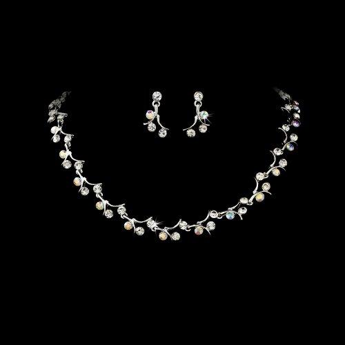 Silver AB Crystal Rhinestone Bridal Wedding Necklace Earring Set