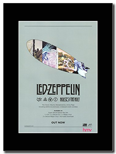 Quattro &, motivo: Led Zeppelin, Houses of The Holy Remastered Magazine Promo su un supporto, colore: nero