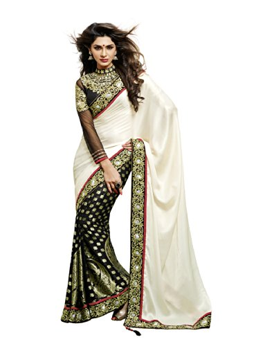 Moh Manthan Classic Celebrity Viscose Off White & Black Saree (3106) (beige\/sand\/tan)