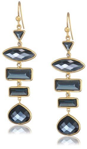 Lauren Harper Collection Midnight 18k Gold, London Blue Topaz and Diamond Earrings